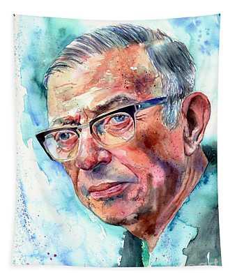 Jean-paul Sartre Portrait Tapestry