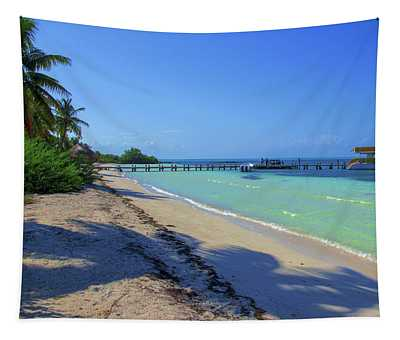 Jetty On Isla Contoy Tapestry