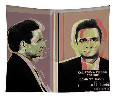 Johnny Cash Mugshot Pop Art Warhol Style Tapestry