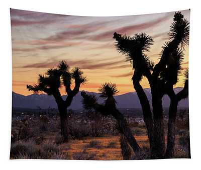 Joshua Trees At Sunset Tapestry