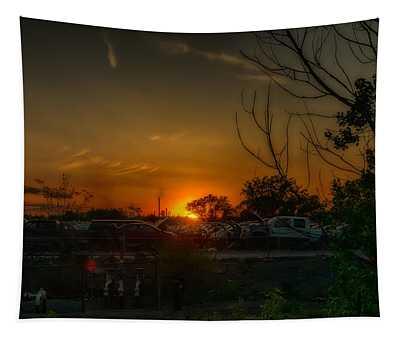 Junk Yard Sunset Tapestry