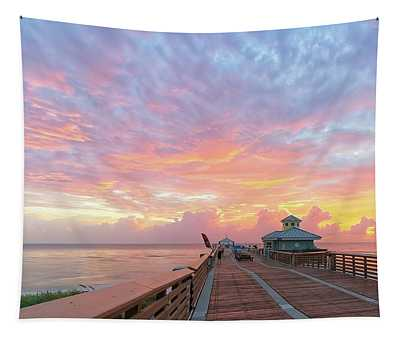 Juno Beach Pier Sunrise Tapestry