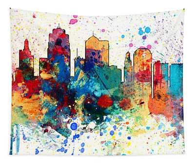 Kansas City Missouri Skyline Panoramic Spash Tapestry
