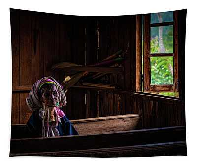 Kayan Woman In Ancient Church Tapestry