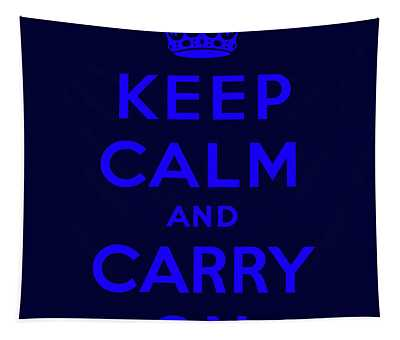 Keep Calm And Carry On, Dark Navy With Royal Blue Text Tapestry