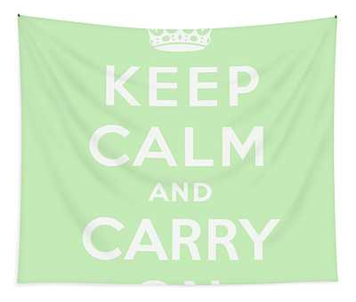 Keep Calm And Carry On, Mint Green Tapestry