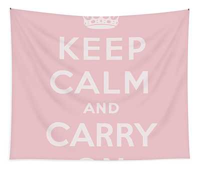 Keep Calm And Carry On, Peach, Pink Tapestry