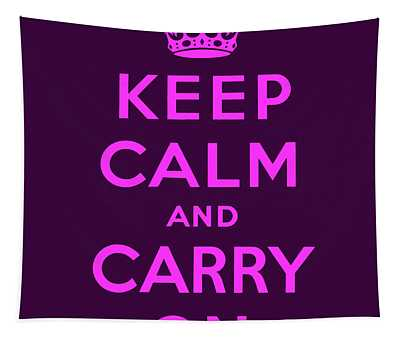 Keep Calm And Carry On, Purple And Pink Tapestry