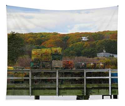 Kennebunkport Lobster Pots Tapestry