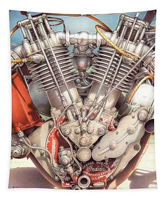 King Of The Board Track Racers - 1915 Indian Motorcycle Engine Tapestry