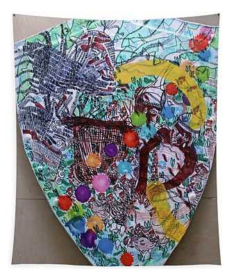 Kintu And Nambi Kintus Tasks Shield  Tapestry