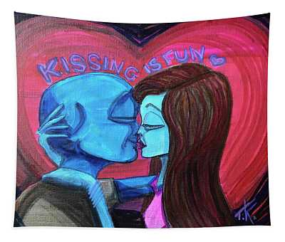 Kissing Is Fun Tapestry