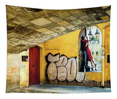 Tapestry featuring the photograph Kissing Under The Bridge by Miles Whittingham