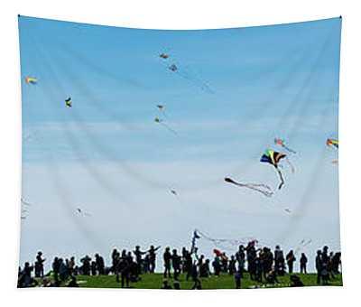 Kite Fest Panorama Tapestry