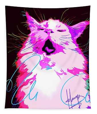 Kitty Yawn Pop Cat Tapestry