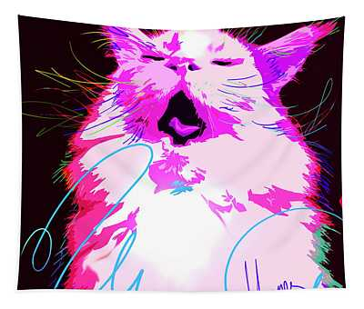 Kitty Yawn Pop Cat Tapestry