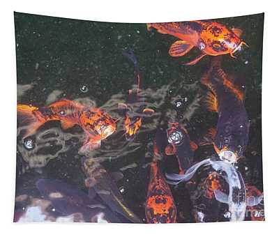 Koi In A Pond Tapestry