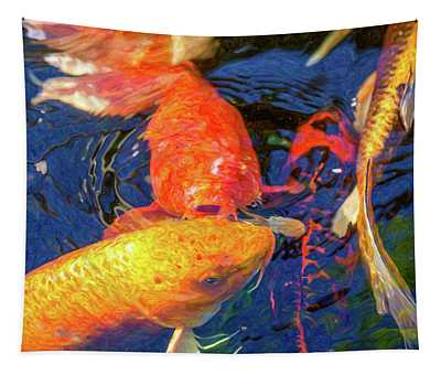 Koi Pond Fish - Kissing Sunshine - By Omaste Witkowski Tapestry