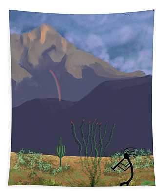 Kokopelli And Mount Wrightson Tapestry
