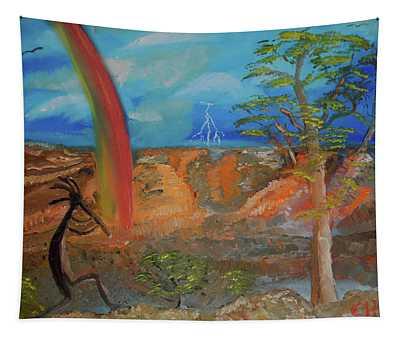 Kokopelli Calls The Storm Tapestry