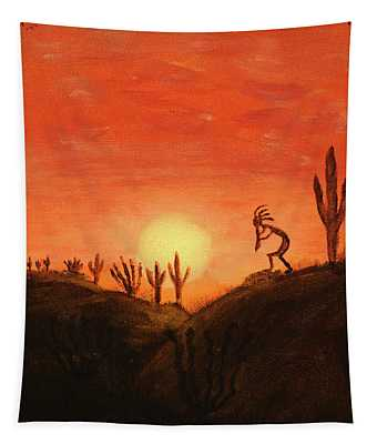 Kokopelli's Sunset Song Tapestry