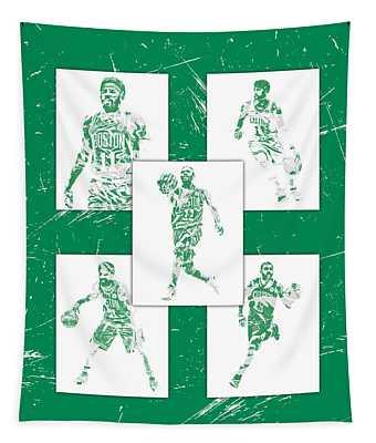 Kyrie Irving Boston Celtics Panel Pixel Art 1 Tapestry