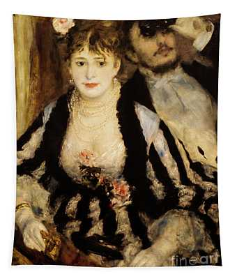 Tapestry featuring the painting The Theatre Box by Auguste Renoir