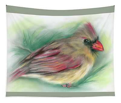 Lady Cardinal In The Pine Tapestry
