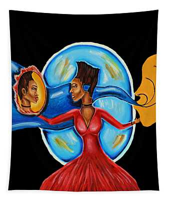 African Goddess Lady In Red Afrocentric Art Mother Earth Black Woman Art Tapestry