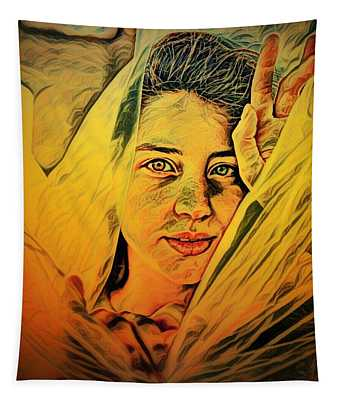 Lady Wrapped In Strings Tapestry