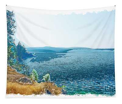 Tapestry featuring the digital art Lake Cda Digital Watercolor 1 by Matthew Nelson