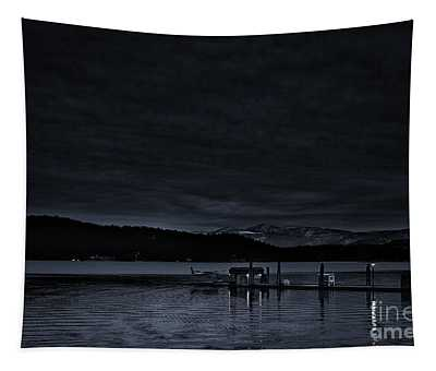 Tapestry featuring the photograph Lake Cda Dusk Cyanotype by Matthew Nelson