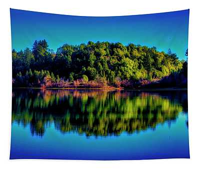 Lake Double Reflection Tapestry
