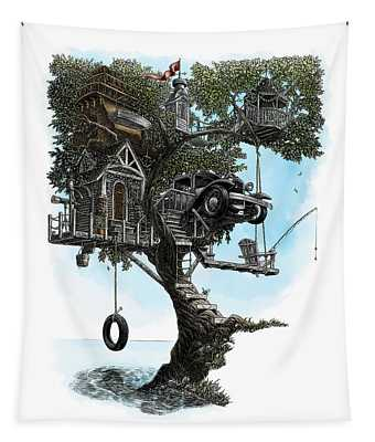 Lake Front Dream House Tapestry