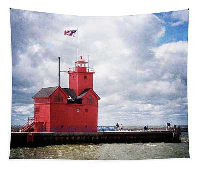 Lake Michigan Light House Tapestry