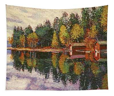Lakeshore Boathouses Tapestry