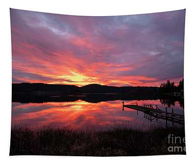 Lakeside Sunset Reflection Serenity Tapestry