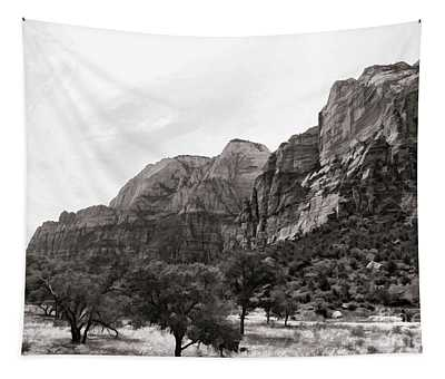 Landscape Bw Zion National Park Utah  Tapestry