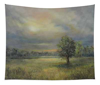 Landscape Of A Meadow With Sun And Trees Tapestry