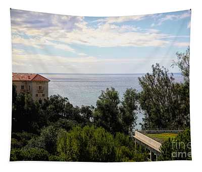 Landscape View Pacific Ocean Getty Villa  Tapestry