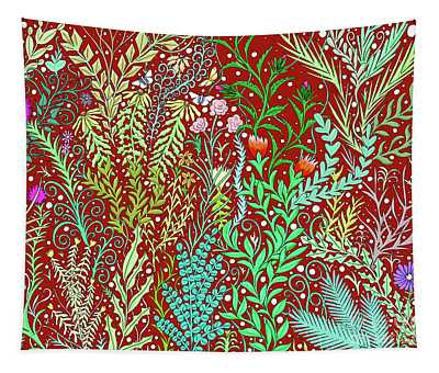 Large Millefleurs Tapestry Design In Dark Red Tapestry