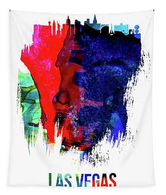 Las Vegas Skyline Brush Stroke Watercolor   Tapestry