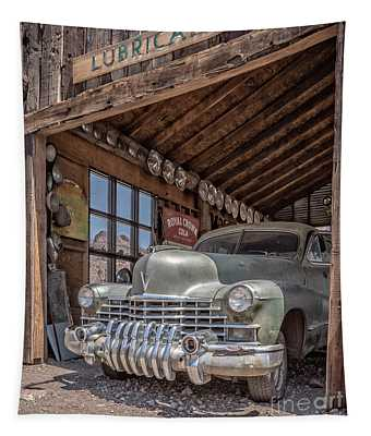 Last Chance Gas Vintage Car Abandoned Gas Station Tapestry