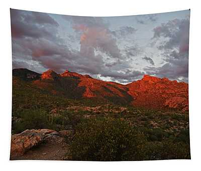 Last Light On Catalina Mountains Tapestry