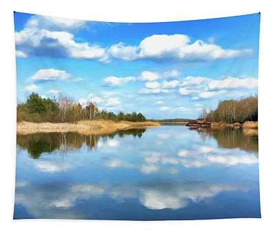 Late Autumn On The River Tapestry