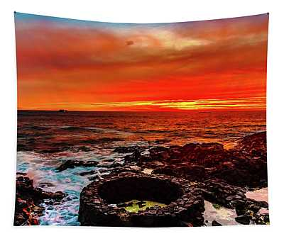 Lava Bath After Sunset Tapestry
