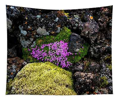 Lava Rocks And Flowers Tapestry