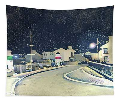 Laxey New Bridge On A Winter's Night Tapestry