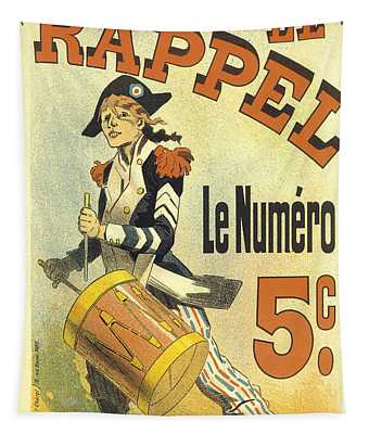Le Rappel Drummer Vintage French Advertising Tapestry