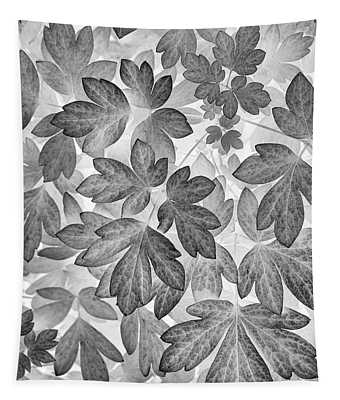 Leaves Black And White Plant Pattern Tapestry
